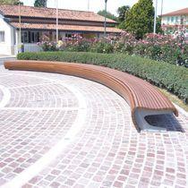 Public bench / contemporary / galvanized steel / wooden