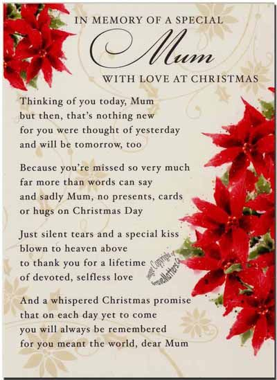 memorial poems for loved ones at christmas | C1-03 - In Memory of a Special Mum at Christmas