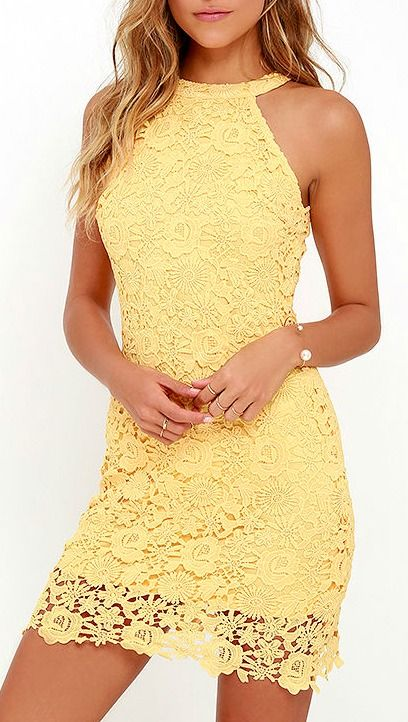 You'll be collecting notes from secret admirers right and left when you don the Love Poem Yellow Lace Dress! A lively pattern of floral lace creates an eye-catching overlay atop knit fabric. Halter neckline and darted sleeveless bodice transition into a chic, sheath skirt. #lovelulus