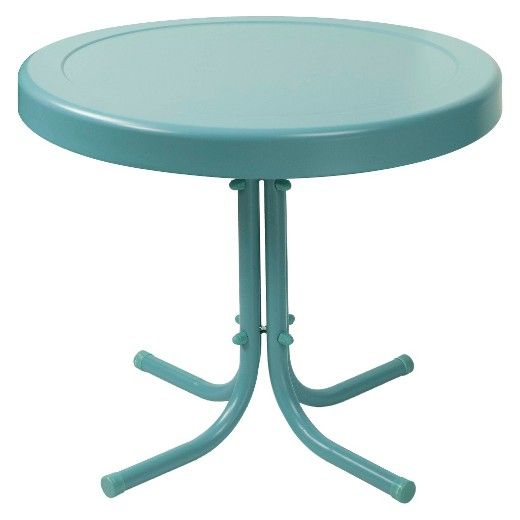 The Old Is New Again With The Crosley Metal Retro Patio Side Table In White.