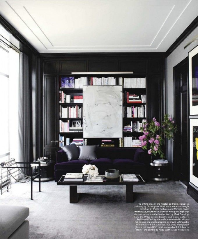 sleek living room furniture. Sleek Black Manhattan Living Room By Mark Cunningham Love This Space Library With Plum Couch Furniture
