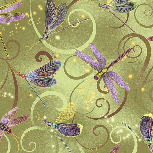 8498M-44 Dancing Dragonflies Celedon Exquisite printing, beautiful colours and design, lovely theme - Dance of the Dragonfly has all the makings of a fabric classic. The printing is truly extraordinary with very fine gold accents - so difficult to achieve! Dragonflies flit among the waterlilies, or fly in a night sky filled with stars. in two luscious coloorways: blue/green and gold/purple. Truly beautiful. 100 % cotton, Juberry Fabrics supply in long quarters of a metre bu...