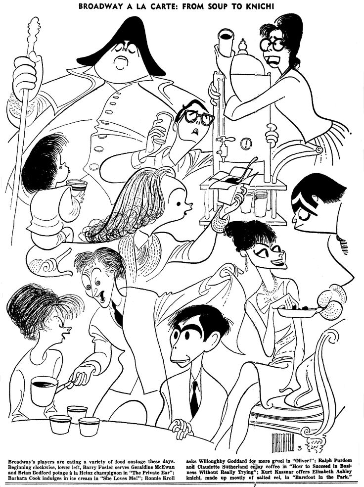 """Al Hirschfeld ~ Broadway a la Carte: From Soup to Knichi: Barry Foster, Geraldine McEwan, and Brian Bedford in """"The Private Ear,"""" Barbara Cook in """"She Loves Me!"""", Ronnie Kroll and Willoughby Goddard in """"Oliver!"""", Ralph Purdom and Claudette Sutherland in """"How To Succeed in Business Without Really Trying,"""" and Kurt Kasznar and Elizabeth Ashley in """"Barefoot in the Park"""""""