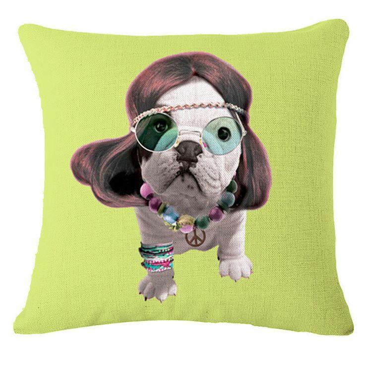 100% Free plus shipping 1 Pcs Bulldog Dog Pattern Cotton Linen Throw Pillow Cushion Cover Seat Car Home Sofa Bed Decorative Pillowcase Cowboy Indian Hippie Punk