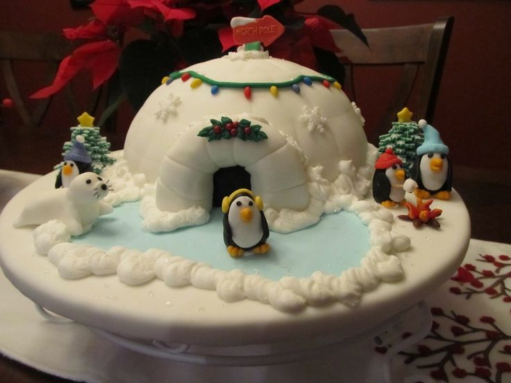 Chocolate cake with buttercream icing.  Use a ball pan for the igloo.  This cake was a lot of fun to make!  I hope the kids will enjoy it at our family Christmas Eve party tonight!  Many thanks to my fellow CCers for lots of inspiration!  Merry Christmas Everyone!  Thanks for looking!