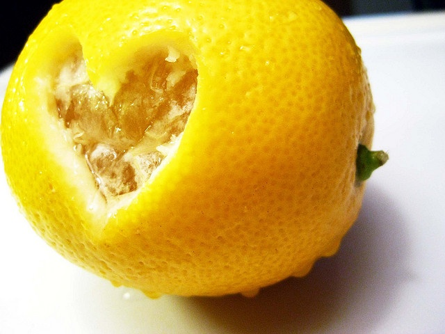 lemon with a heart carved into it's peel