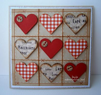 #papercraft #valentine #card - like the homespun look and the grid of hearts ...