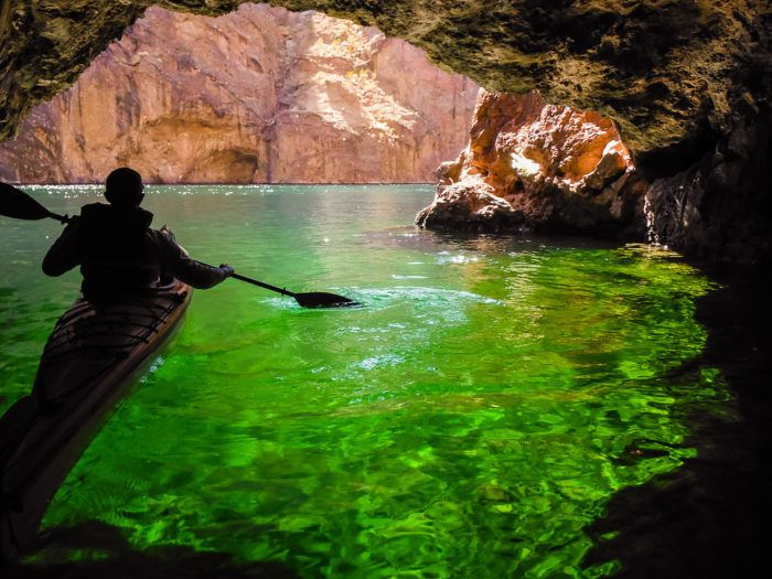 Emerald Cave, It looks almost too good to be true, right? This little spot is found on the Colorado River a few miles south of Lake Mead. When the light hits the water just right, the river water appears a bright, emerald green.