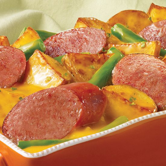 Cheesy Eckrich Turkey Smoked Sausage Casserole with hearty potatoes and crunchy green beans #eckrich #dinner #recipe