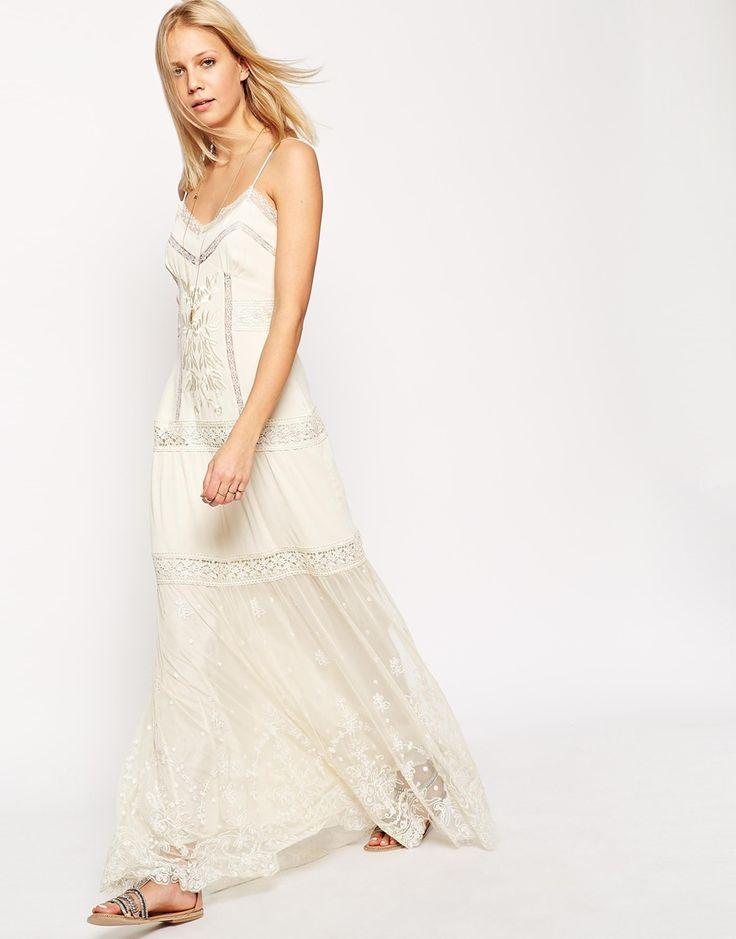 Image 1 - ASOS Premium - Maxi robe à bretelles avec broderies et inserts en dentelle