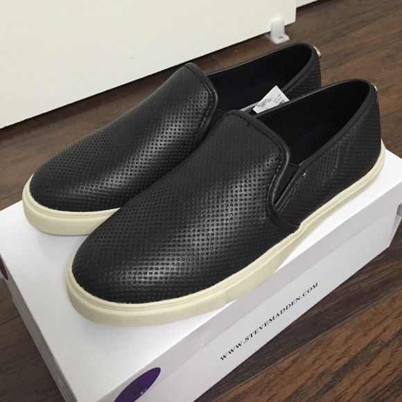 NWT Steve Madden Black Perforated Sneakers !! Black leather sneakers by Steve Madden! Brand new, never worn! Comes with box. Slip on sneaker, leather upper, rubber sole. Perforated leather adds style to your shoe! Steve Madden Shoes Sneakers
