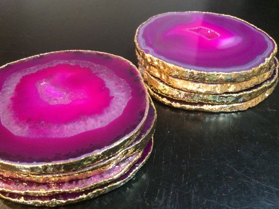 Pink Agate Coaster  Pink Agate Coasters  by NewMoonBeginnings