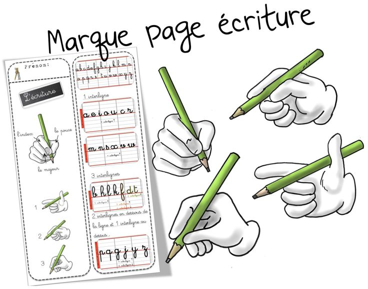 Marque-pages écriture des minuscules et préhension de l'outil scripteur