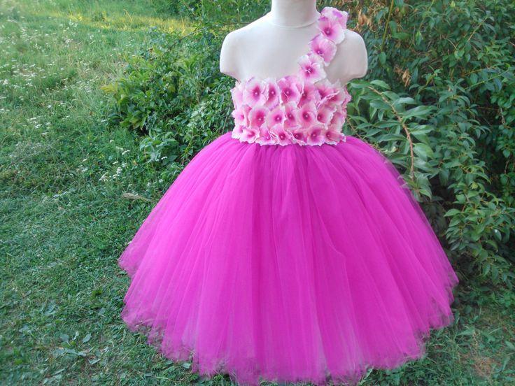 Fuchsia tutu dress – wedding tutu dress – fuchsia flower girl tutu dress –  birthday tutu dress – hydrangea tutu dress by Belletutus on Etsy