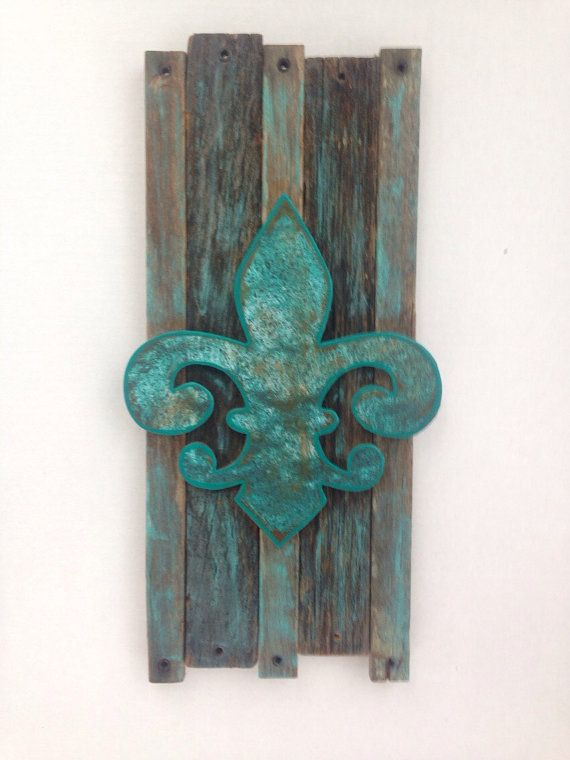 Fleur de lis home decor wall art teal rustic shabby chic for Fleur de lis home decorations