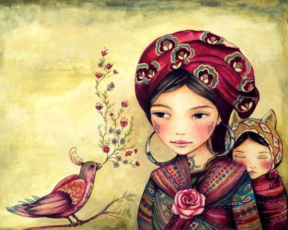 Madre e hija con el arte de cantar de aves impresión