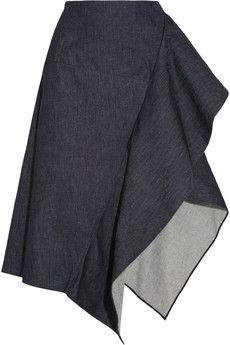 Marni Draped denim midi skirt   NET-A-PORTER