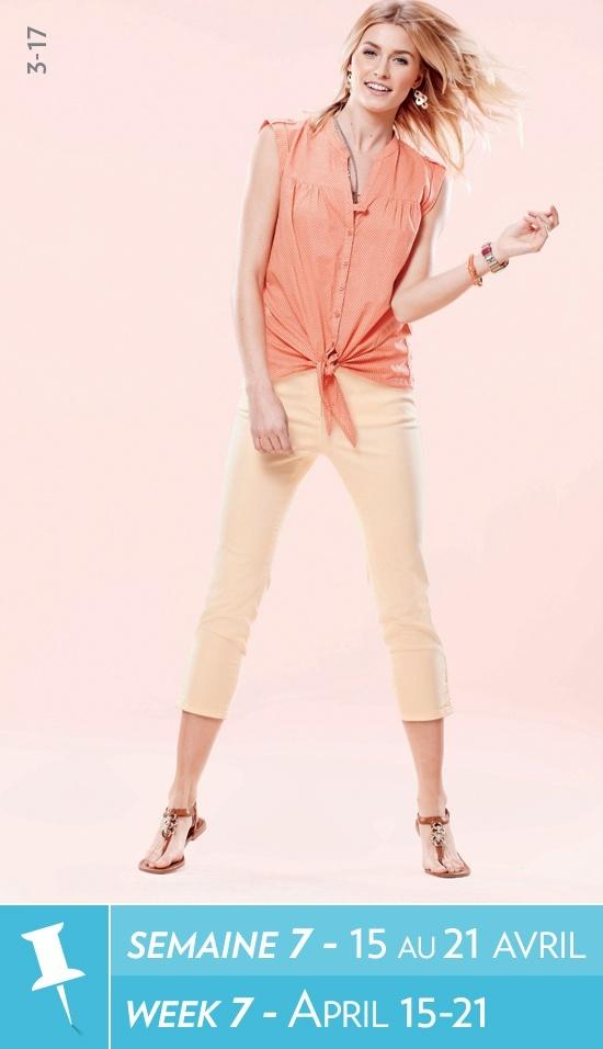 Tie front sleeveless blouse, cropped pant, bracelets, chandelier earrings / Blouse sans manches avec attache à lavant, pantacourt, bracelets, boucles doreilles #reitmans #reitmanspinittowinit