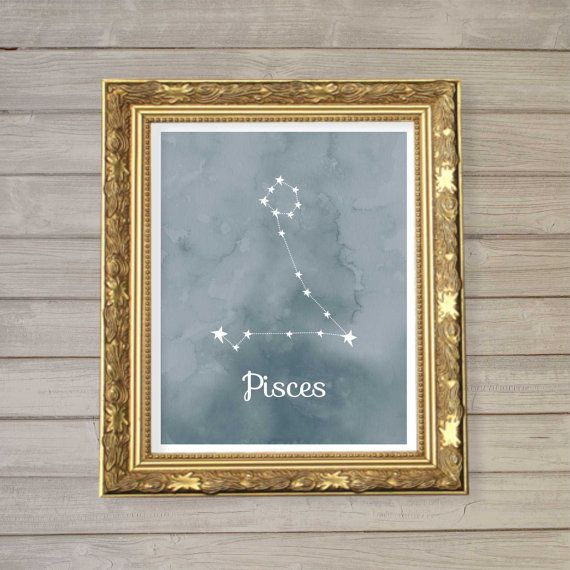 Pisces Zodiac Constellation Wall Art Printable 8×10 – Instant Download Birthday Horoscope Astrology Stars Watercolor Poster Home Decor Room