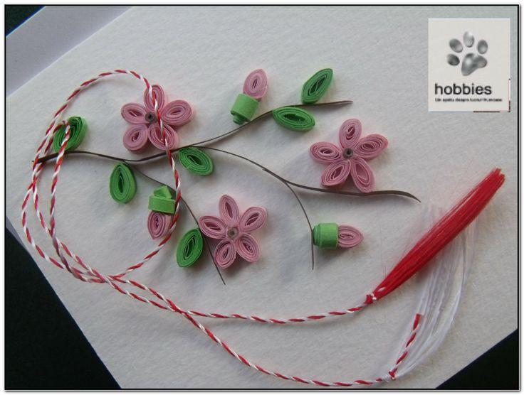 Quilling Card: Blooming Flowers. Felicitare quilling de Martisor cu crenguta de pom inflorita.