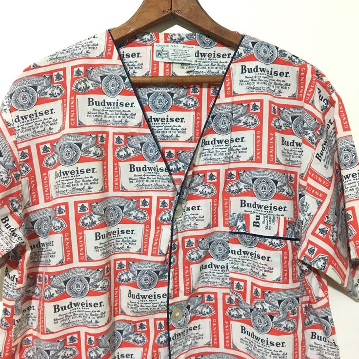 Vintage Budweiser Shirt Button Front V Neck Pajama Top 60s Poly Cotton Bud Beer  | eBay