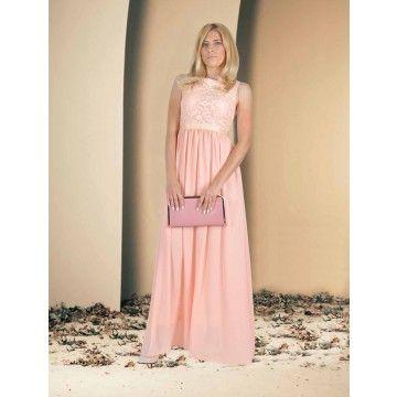 Rochie lunga roz cu model aplicat
