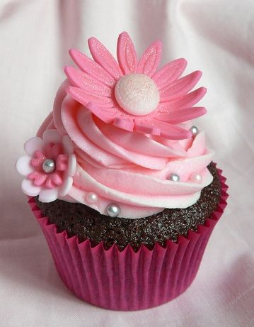 Pretty Pink Floral Cupcake - Bridal Shower, Baby, Sweet 16 - perfect for all