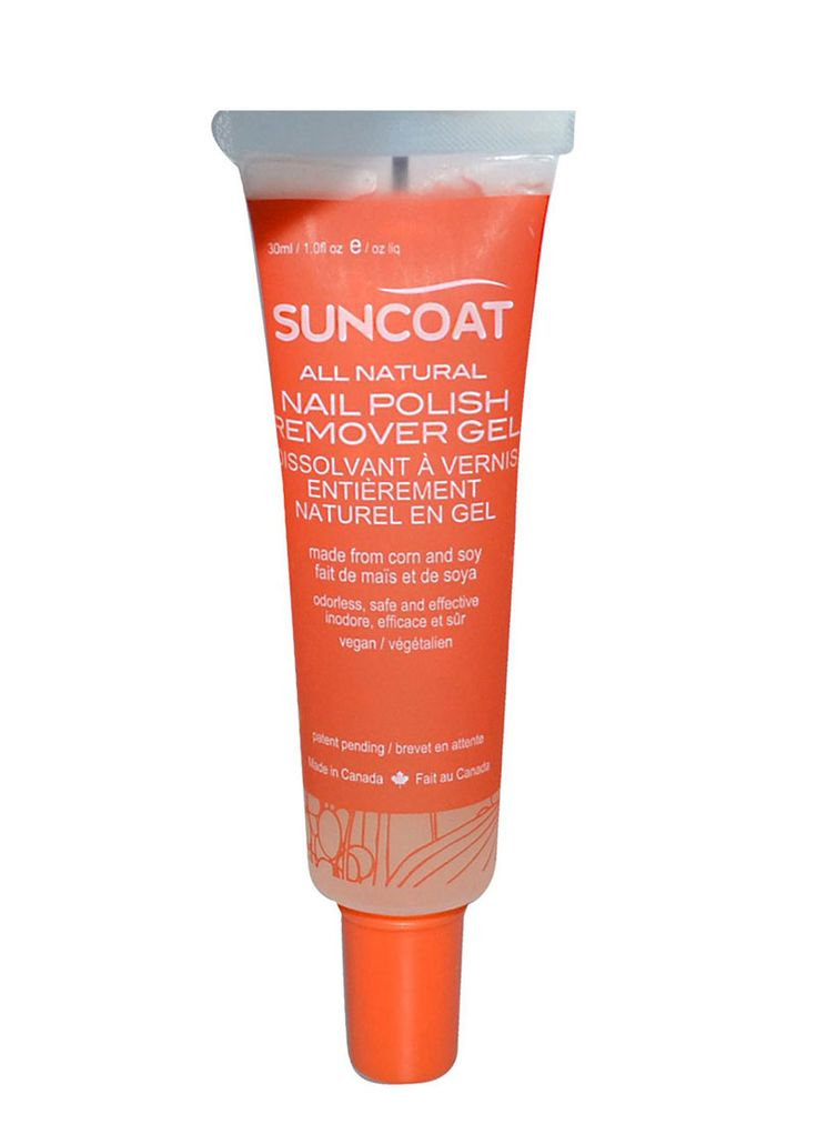 Sun Coat's natural nail polish remover gel ($8 / 30 ml) - earth friendly, nontoxic, non-drying to the nails, free of petrochemicals, biodegradable, plant-based formulation. Works with all nail polishes, water based and conventional! Ideal for home use, great for travel.