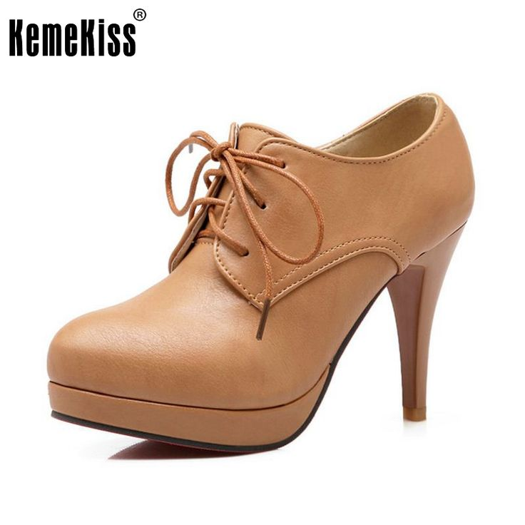 High Heel Shoes Platform Pumps For Women Lace Up Casual Shoes Sexy Women Shoes Fall Spring Pumps Rubber Shoes Size 34-39 #Affiliate