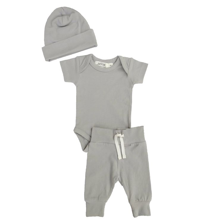 Organic Layette Bundle - Hat, Bodysuit, Basic Pant in Stone Grey
