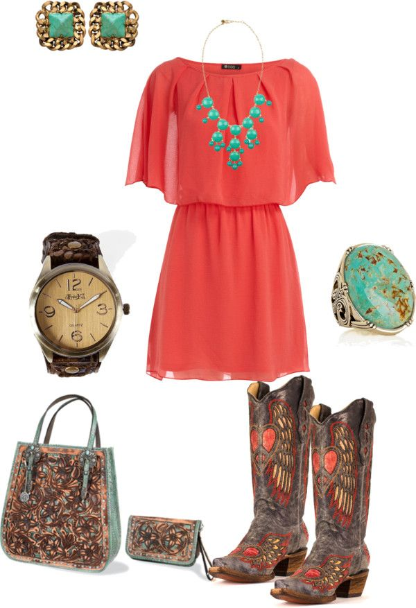 """""""turquoise and coral"""" #countryoutfit #country #countryfashion #countrystyle For more Cute n' Country visit: www.cutencountry.com and www.facebook.com/cuteandcountry"""