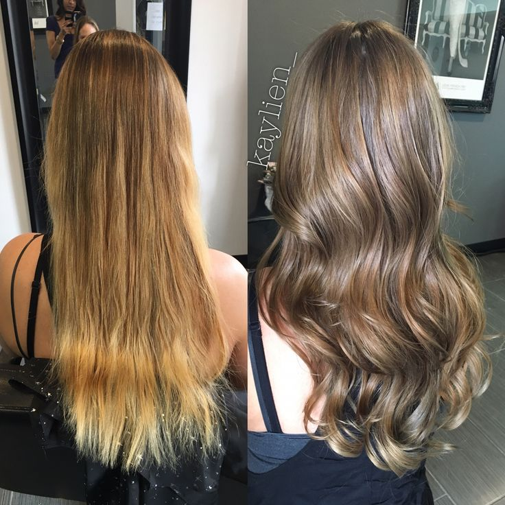 From golden blonde to a natural light ash brown. Olaplex treatment for healthy shine