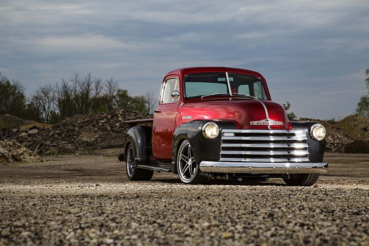 Profile of a customized 1952 Chevy pickup truck.