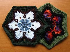 These hexagons can be worked in pretty much any yarn weight with the appropriate hook size; they're pretty good for using up small balls of yarn left over after a larger project. I specifically designed the 'petal' rounds to make the most of variegated yarn with short color sequences, although they can be crocheted in solid yarn, too.