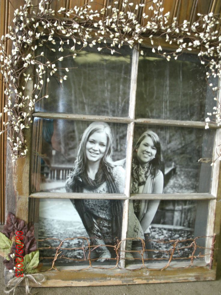 old window ~ take a pic of the kids outside and give it to grandparents.  will be like they are looking out their window at the kids in their yard =)