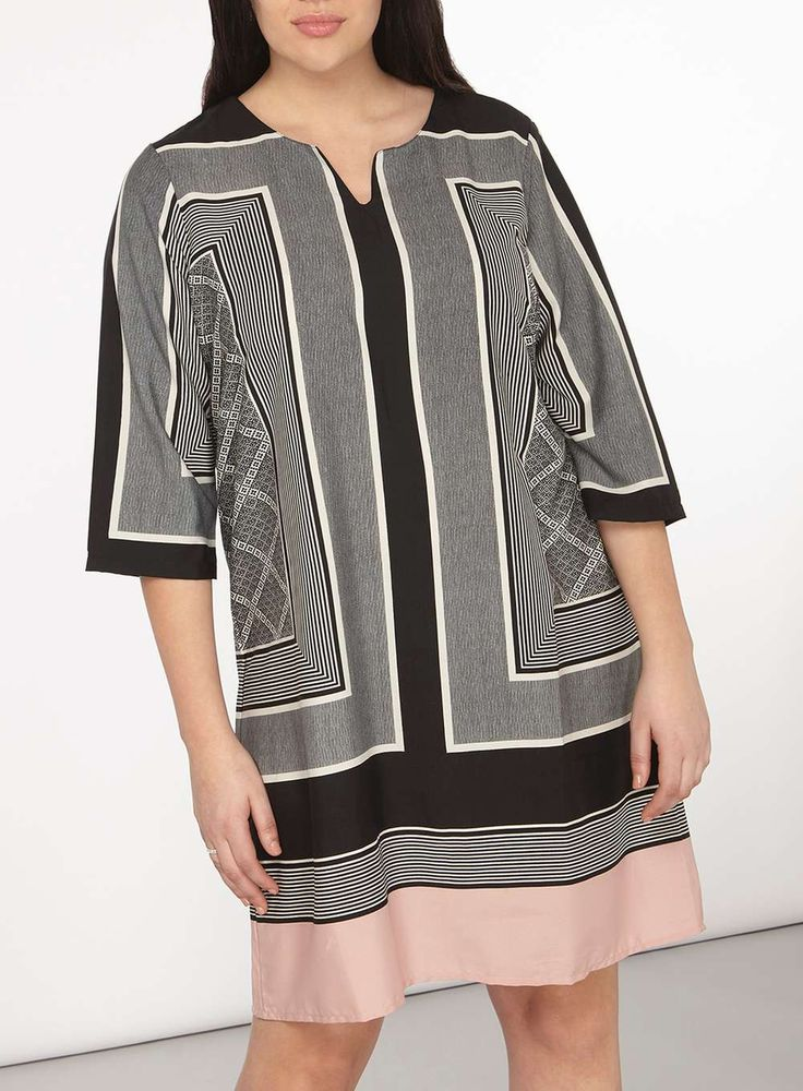 Womens **Juna Rose Curve Boarder Print Dress- Multi Colour