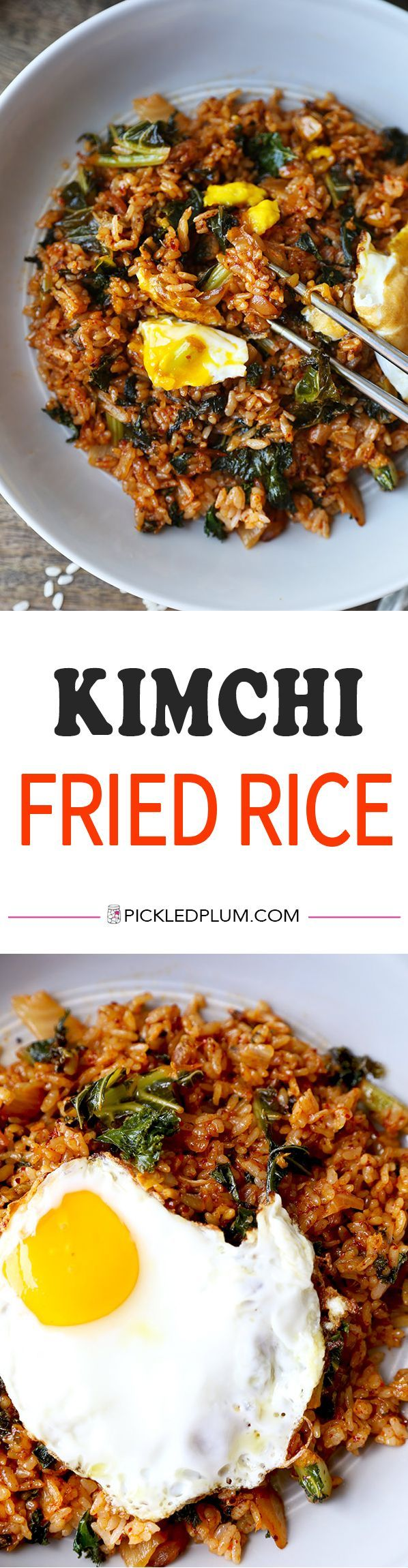 Kimchi Fried Rice - Whip up this quick & easy kimchi fried rice in less than 15 minutes! The kale adds a boost of nutrients to this already healthy & scrumptious recipe! Korean, recipe, fried rice, kimchi, kale, easy | pickledplum.com