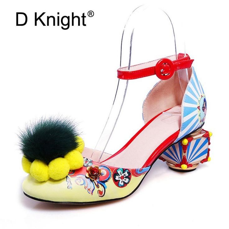 Women Sandals Fashion Print Strange Heel Pumps Fur Ball Metal Decoration  2018 Summer Ladies Dress Party