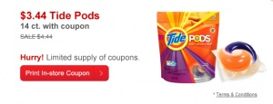 CVS Deal of the Day $1 Off Tide Pods Coupon (14 ct) Just $3.44!