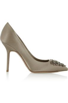 Burberry Shoes & Accessories Crystal-embellished satin pumps  | NET-A-PORTER