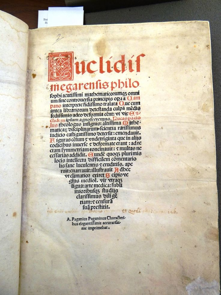 Title page for Pacioli's edition of Euclid's Elements.