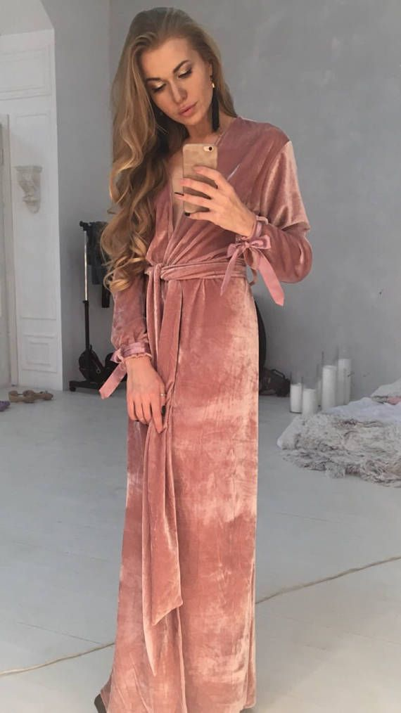 Women's long velvet robe. If you want to see full set of color, please, write to us. Shipping terms:  Delivery to Europe - 1-2 weeks Delivery to USA, UK - 10-18 days Delivery to Australia, Canada - 3-5 weeks