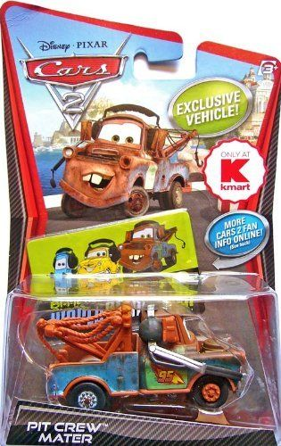 Disney / Pixar CARS 2 Movie Exclusive 155 Die Cast Car Pit Crew Mater by Mattel Toys. $0.01. For Ages 3 & Up. Disney/Pixar Cars 2 Movie Collection 1:55 scale car from Mattel. Collect them all!. Pit Crew Mater is a Kmart exclusive. All your favorite characters from the Disney Pixar film, CARS 2, in 155th scale. With authentic styling and details, these die cast characters are perfect for recreating all the great scenes from the movie. Collect them all!Star racecar Lightning Mc...