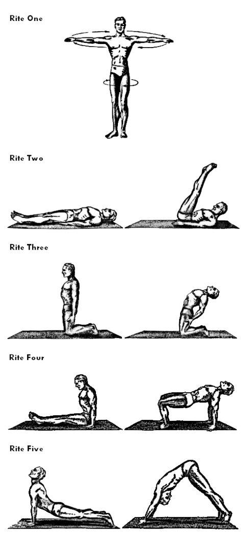 5 Ritos Tibetanos    Faça a repetição de 7 vezes para cada exercício. Aumentando semanalmente, de 7 em 7 até chegar a 21 repetições.
