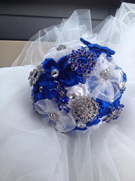 SPLENDIDO Bouquet  Da Sposa Blu Royal .Bouquet di cristinacrystal