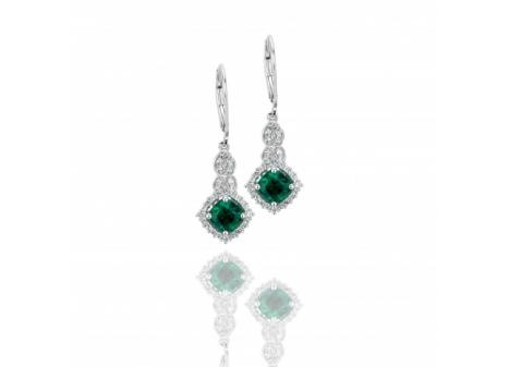 Sterling Silver Cushion Created #Emerald & Created White #Sapphire #Earring $169.99
