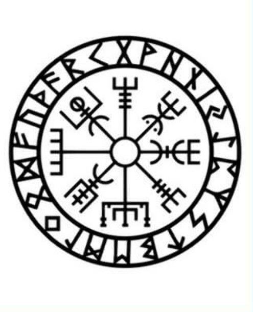"""The symbol is attested in the Huld Manuscript, collected in Iceland by Geir Vigfusson in 1860 (but consisting of material of earlier origin). A leaf of the manuscript provides a drawing of the Vegvísir symbol, giving its name, and, in prose, declaring that """"if this sign is carried, one will never lose one's way in storms or bad weather, even when the way is not known""""."""