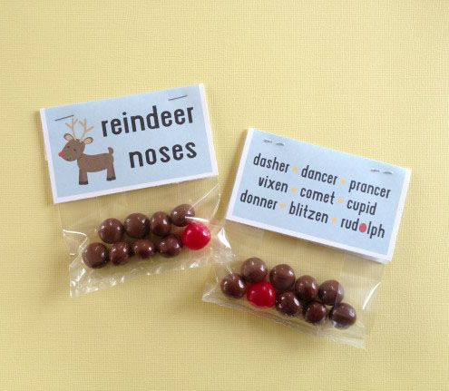 Reindeer Noses - using malt balls and a sour cherry. Free Printable
