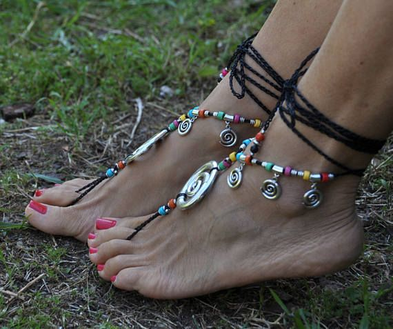 Joyas de plata sandalias Descalzas Vortex negra pies Hippie