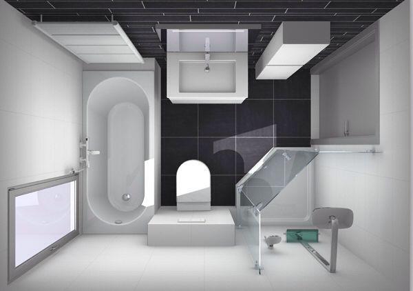 Kleine badkamer met apart douche en bad